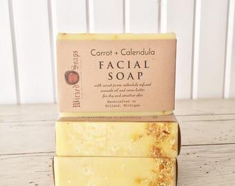 Carrot + Calendula Facial Soap - Handmade Soap, Unscented Soap, Cocoa Butter Soap
