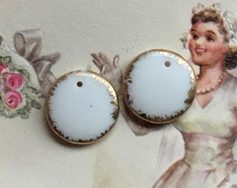 Minimalist, Vintage Glass Pendants, Round Pendant, Milk white with gold, Art Deco, art nouveau, retro beads, milk glass, #637Q