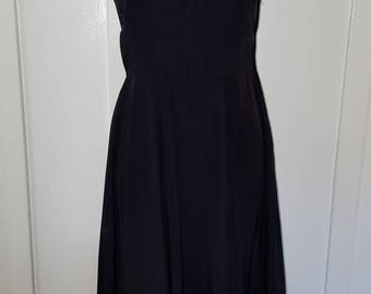 Vintage 1940s Black Sleeveless Rayon Dress