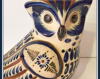 Mexican Owl Figurine, Artist Intitials, Ceramic, Pottery, Handpainted, Folk Art,  Vintage 1980's