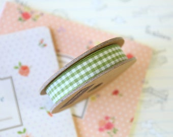 Sage Green country style gingham ribbon