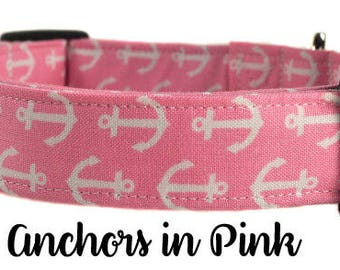 Nautical Dog Collar - The Anchors in Pink