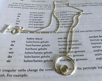Moonstone Circle Sterling Silver Necklace