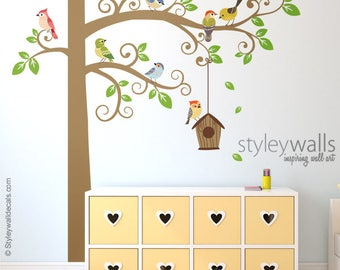 Birds Wall Decal, Tree Wall Decal, Tree and Birds Wall Decal Sticker, Bird House Wall Decal, Birds Nursery Decor, Baby Room Kids Wall Decals