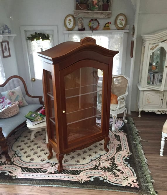 Miniature Walnut Display Cabinet, Curio Cabinet, Clear Front, Three Shelves, Dollhouse Miniature Furniture