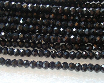 2.5mm, Full strand, AAA Sparkling Tiny Black Spinel Micro Faceted Rondelles