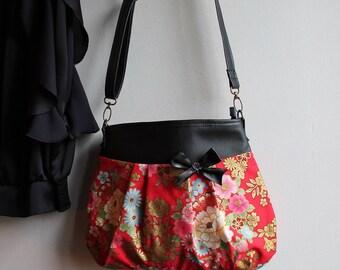 Crossbody hobo bag zipper closure - golden red pink  - Kanako