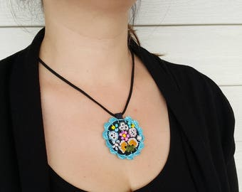 Free Shipping Crochet Circle Necklace, Modern Felt Necklace, Unique Design Necklace, Free Form Necklace, Under 25, Turquoise