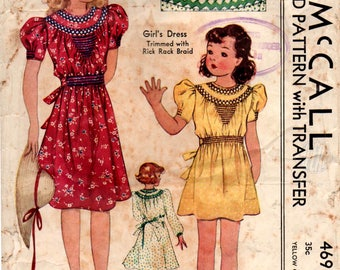 McCall 469 Girls Puff Sleeved Dress with Decorative Trim Neckline 1930s Vintage Sewing Pattern Size 10 Bust 28 Inches