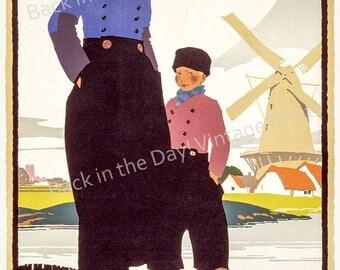 "Art Prints, Vintage Reproduction Travel Poster ""Holland Harwich-Hook Service"" c1920"