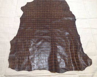 SHRM580.  Brown Large Print Houndstooth Leather Lambskin