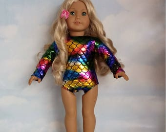 18 inch doll clothes - Mermaid Leotard handmade to fit the American Girl Doll - FREE SHIPPING USA