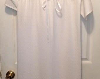Sheer White Pullover Dress Retro Swim Coverup or Sleepwear 70s Long S M