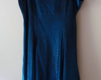 SALE 80's Vintage Midnight Blue Metallic Shimmer Party Dress Small