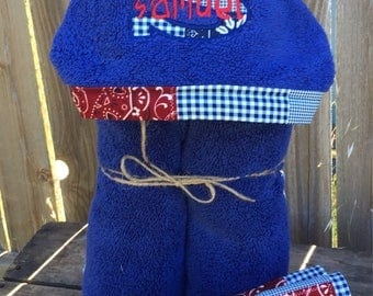 Personalized Hooded Towel with matching set of washcloths - over 200 fabric choices