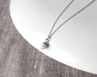 Marble necklace - tiny howlite pendant with sterling silver chain - white bead - simple necklace - gemstone - choice of color
