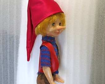 """Vintage Russian Doll - Pinocchio Buratino - with Original Clothes - 21"""" inches - 1980s - from Russia / Soviet Union / USSR"""
