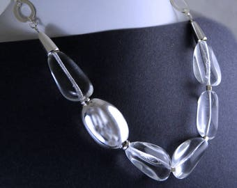 Crystal Clear Winter Necklace. Chunky Shiny Beads.