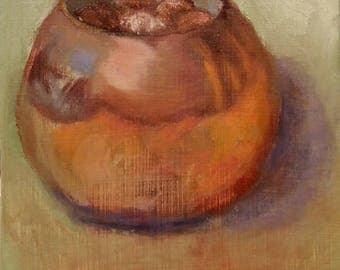 Original Oil Painting Copper Bowl with Pennies Small Painting Daily Painting 30 in 30 Paint Challenge