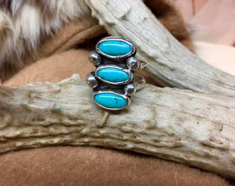 Turquoise Ring, Kingman Turquoise, Multi Stone Ring, Sterling Silver Ring,Size 9 Ring, Mens Ring, Handcrafted Ring, Turquoise Jewelry, Boho