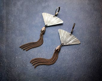 Vintage Fan Earrings Silver Brass Chain Tassel Shoulder Duster Long Festival Contemporary Gypset Edgy Assemblage Repurposed Upcycled Jewelry