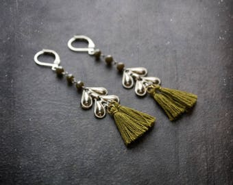 Olive Tassel Earring Boho Fringe Silver Chevron Festival Army Green Crystal Bohemian Gypset Shoulder Duster Long Upcycled Repurposed Jewerly