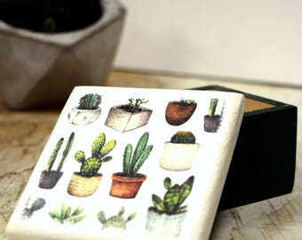 Cactus Plants Wood Square Box, Prickled Pots,  Jewelry Box, Wedding, Storage Box, Handmade, Succulent, Succulents, Cactus, Outdoor Wedding