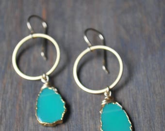 Chrysoprase Hoop Earrings in Gold