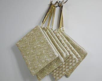 Set of  gold bridesmaid clutches | gold wristlet purse | gold wedding clutch