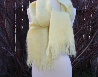 1980's Pale Yellow Mohair Wool Shawl Wrap Scarf Scotland Vintage Retro 80's Warm Soft ECHO