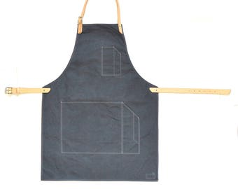 Handmade Grey Dry Oilskin & Vegetable Tanned Leather Workwear Apron