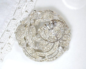 Antique Art Nouveau Hair Comb OR Brooch, Pave Rhinestone Round Flower Vintage Bridal Sash Pin or Hairpiece, 1920s Art Deco Hair Accessory