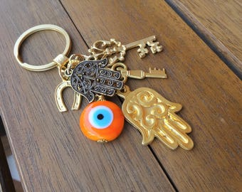 Evil Eye Beaded Hamsa Keychain