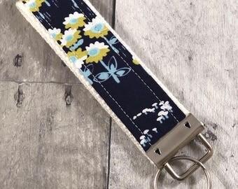 Key Fob - Blue Floral