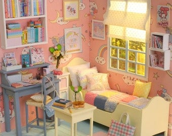 Pastel Unicorn Bedroom - 1/6 miniature dollhouse diorama (handmade)
