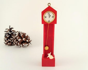 Vintage Toy Grandfather Clock Christmas Ornament, Hickory Dickory Dock, Red Painted Wood Miniature Toy Furniture Ornament, Vintage Christmas