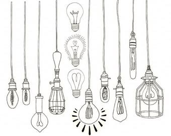 LightBulb Clip Art, Wedding String Light ClipArt, Vintage Edison Bulb, Royalty Free Printable, Light Bulb Line Art PNG, Instant Download