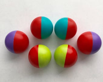 Hand Painted Colorful Ball Style Knobs Dresser Drawer Pulls Set of Six