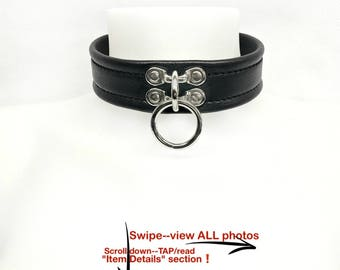 BDSM Slave Collar Black LEATHER Single Ring Lockable or Standard Buckle Submissive Play Collar