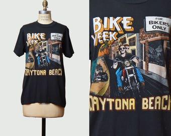 Vintage 90s American Biker Motorcycle Shirt Top Graphic Tshirt Daytona Beach / 1990s Motorcycle Bike Week T Shirt Grunge Tee Small Medium