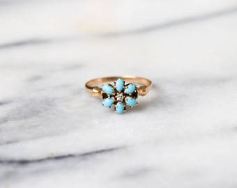 Antique 14k Gold Ring With Turquoise and Diamond c.1900