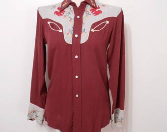 Vintage TWO TONE Western Shirt Chain Stitch EMBROIDERY Smile Pockets Burgundy Gray 1950s Rockabilly Shirt Rockabilly Top Womens Size 34 Bust