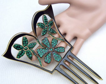 Art Nouveau hair comb celluloid hair accessory headdress headpiece decorative comb hair jewelry
