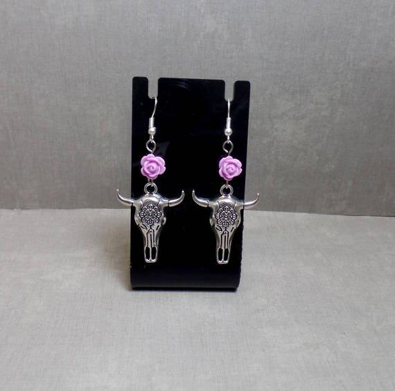 Lavender Flower Cow Skull Earrings - Steer Skull Earrings - Boho Cow Skull Earrings - Southwestern Skull Earrings - Free US Shipping