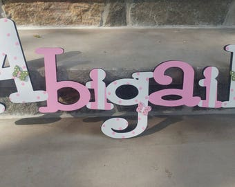 Custom Girls Name Sign - Nursery Wall Letters Name Sign - Wood Wall Letters Girl Style