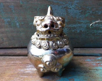 Vintage Oriental Incense burner silver Chinese Foo Dog Dragon Asian container