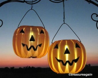 solar jack o lanterns 2 pumpkin solar lights outdoor halloween decoration pumpkin decor - Halloween Decorations Pumpkins