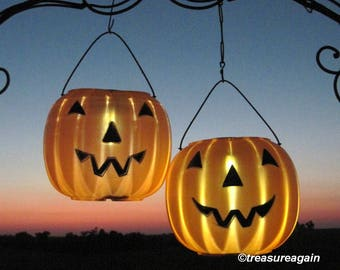 solar jack o lanterns 2 pumpkin solar lights outdoor halloween decoration pumpkin decor - Pumpkin Decor