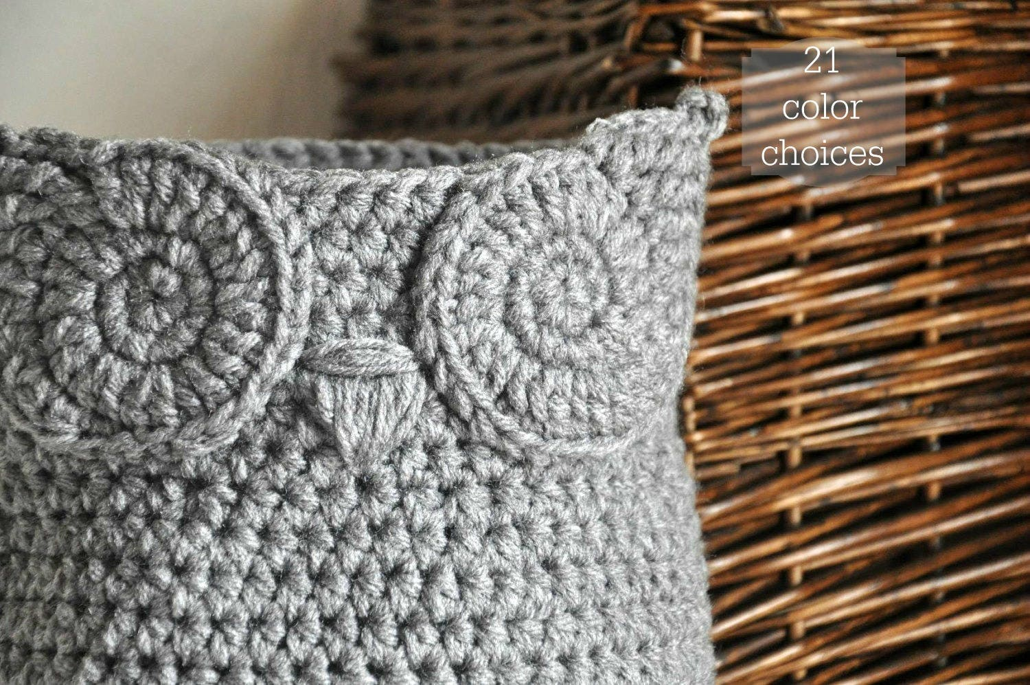 Grey owl basket crocheted bin yarn holder woodland nursery zoom bankloansurffo Images