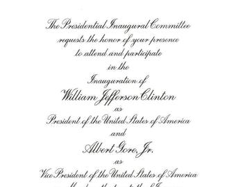 1997 4-Piece CLINTON GORE Official Inauguration INVITATION Gold Embossed